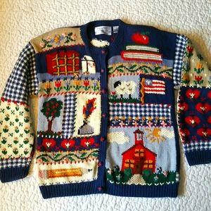 Vintage Northern Isles M Knit Teacher Cardigan Art